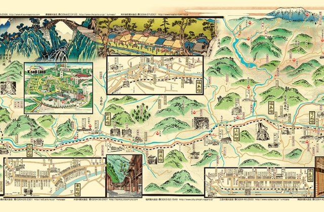 木曽街道を描いた浮世絵古地図イラスト