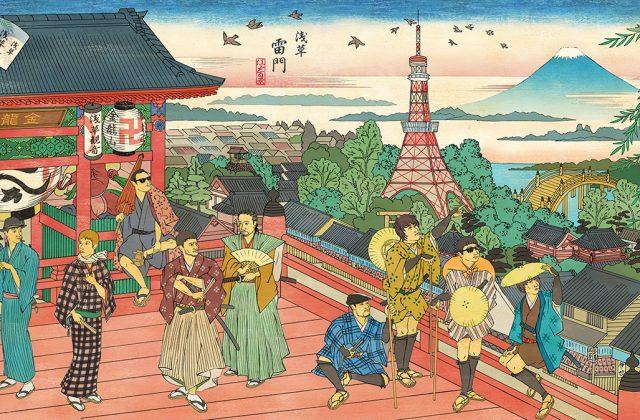 浮世絵で描いた和風イラスト