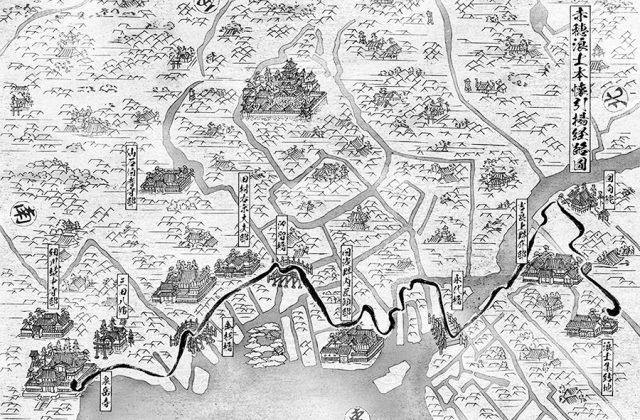 江戸の浮世絵風古地図イラスト