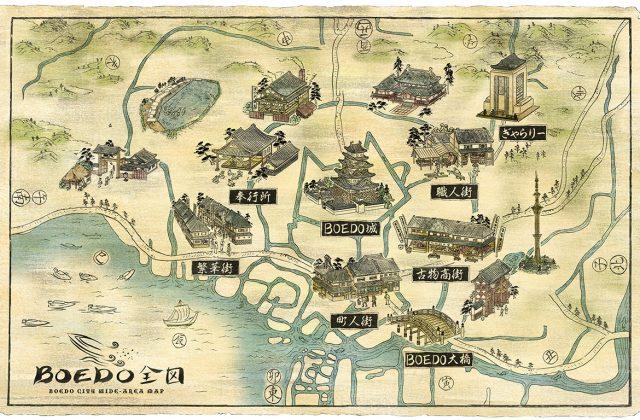 江戸を古地図で描いた浮世絵風イラスト