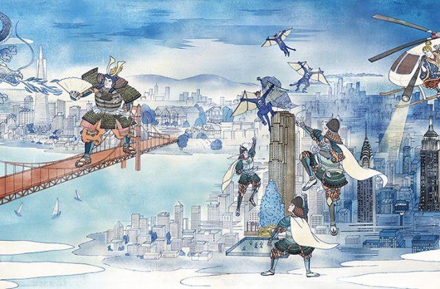 アメリカの街を浮世絵で表現したイラスト