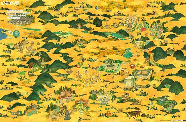 絵地図の浮世絵イラスト