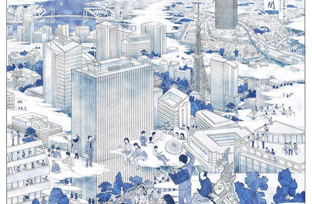 東京 浮世絵 鳥瞰図 イラスト