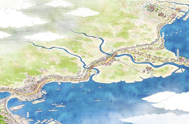 浮世絵風の絵地図