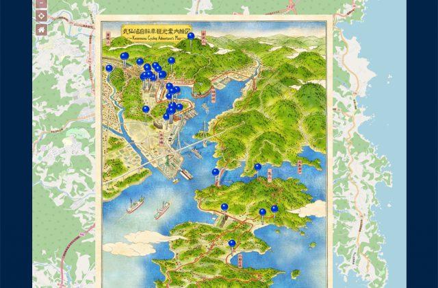 浮世絵イラストの絵地図